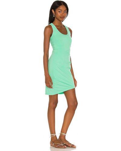 Зеленое хлопковое платье мини с оборками Bobi