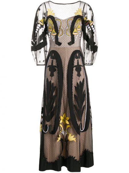 Платье миди из фатина в горошек Temperley London