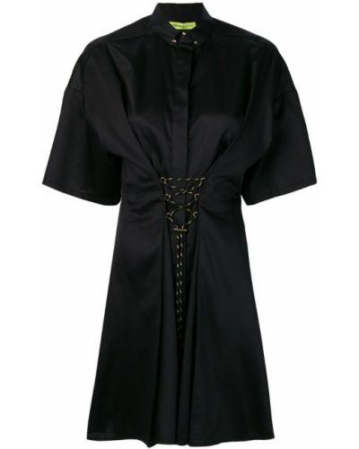 Приталенное черное платье мини на шнуровке Versace Jeans