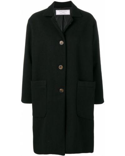 Черное длинное пальто с капюшоном на пуговицах Société Anonyme