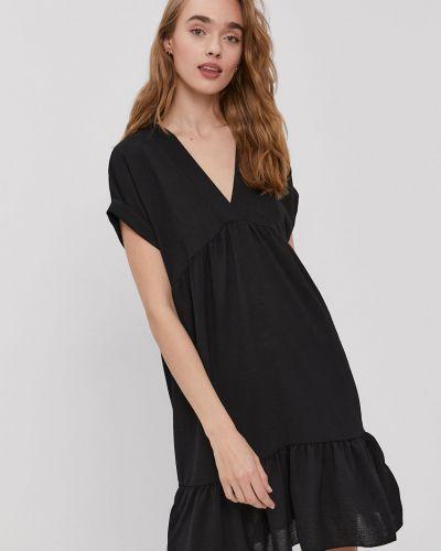 Czarna sukienka mini z falbanami oversize Hailys