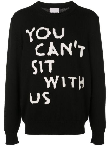 Шерстяной черный свитер свободного кроя с надписью Nasaseasons