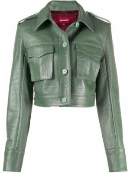 Зеленая кожаная короткая куртка с воротником Sies Marjan