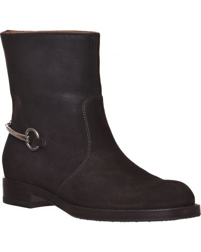 Кожаные сапоги осенние на каблуке Gucci