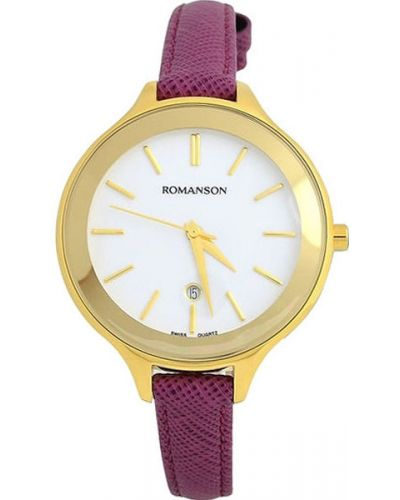 Часы на кожаном ремешке кварцевые водонепроницаемые Romanson