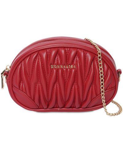 Красная кожаная сумка с поясом Monnalisa
