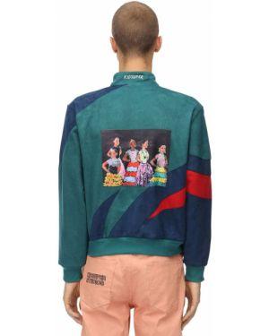 Prążkowana zielona kurtka z haftem Kidsuper Studios
