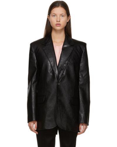 Кожаный черный удлиненный пиджак с подкладкой Y Project
