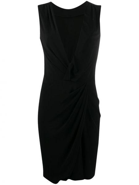 Черное платье мини с запахом с поясом Dsquared2