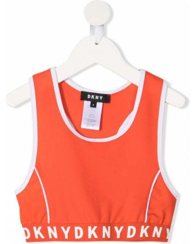 Оранжевый топ без рукавов с вырезом Dkny Kids