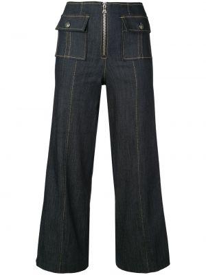 Niebieskie jeansy z wysokim stanem bawełniane Cinq A Sept