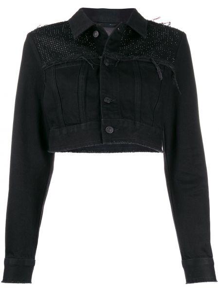 Классическая черная джинсовая куртка с воротником на пуговицах Diesel
