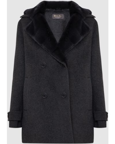 Серое кашемировое пальто с мехом Loro Piana