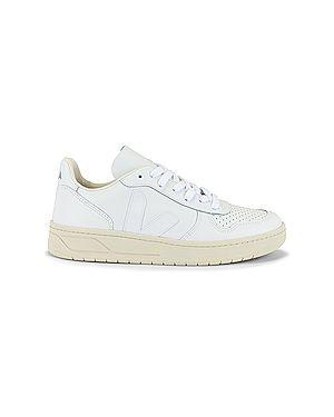 Кожаные белые кожаные кроссовки на шнуровке с воротником Veja