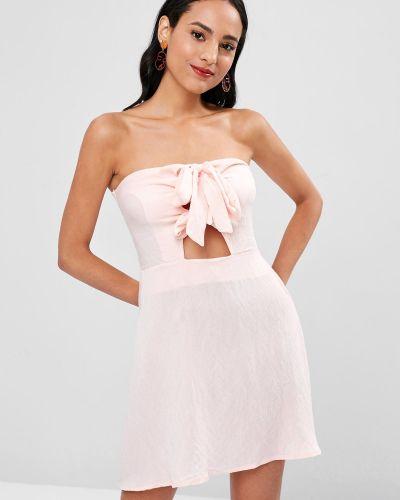 Платье розовый без бретелек Zaful