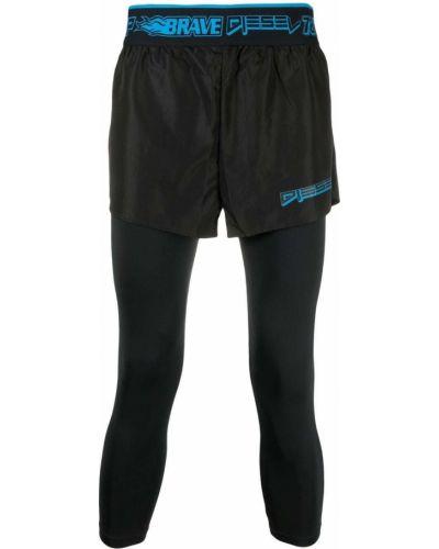 Czarne legginsy z nylonu Diesel