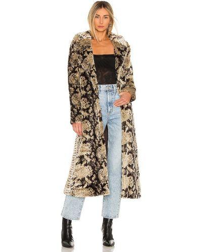 Длинное пальто из искусственного меха с карманами на крючках Unreal Fur