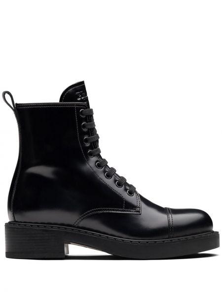 Ażurowy czarny buty na pięcie z prawdziwej skóry na pięcie Prada