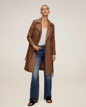 Кожаное пальто пальто-тренч пальто Mango