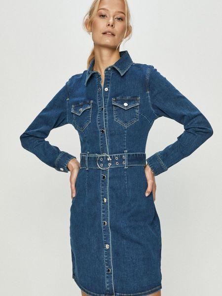 Прямое синее джинсовое платье с длинными рукавами Tally Weijl