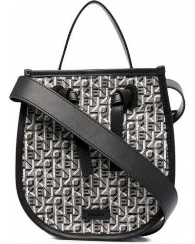 Кожаная черная сумка с нашивками Kenzo