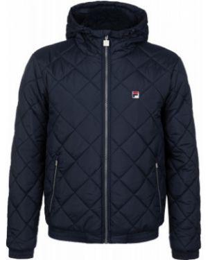 Прямая синяя стеганая куртка на молнии с карманами Fila