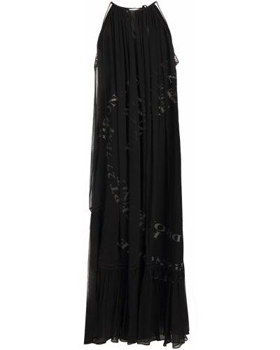 Черное платье миди на бретелях на крючках Mcq Alexander Mcqueen
