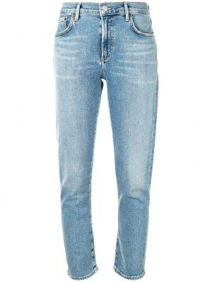 Klasyczne niebieskie jeansy rurki bawełniane Agolde
