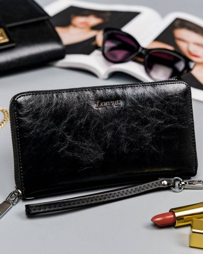 Czarny portfel srebrny Lorenti