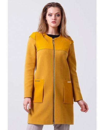 Желтое пальто с капюшоном Sergio Cotti