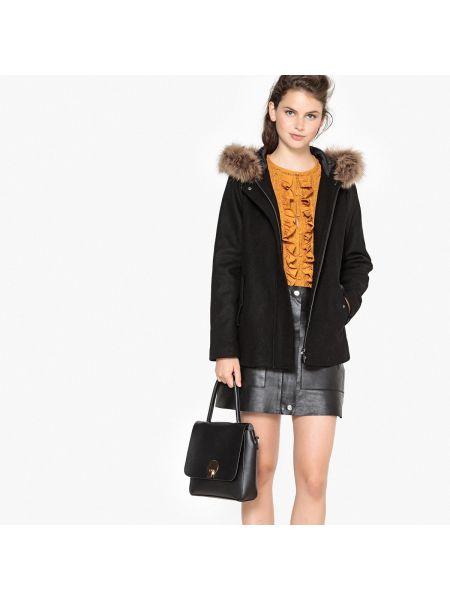 Пальто с капюшоном укороченное шерстяное La Redoute Collections