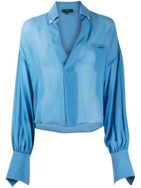 Синяя прямая рубашка с воротником на пуговицах Jejia