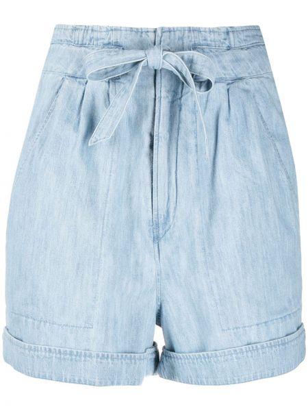 Хлопковые с завышенной талией джинсовые шорты с поясом Isabel Marant étoile