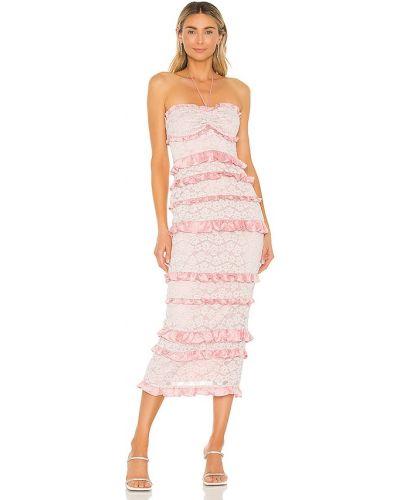 Кружевное розовое платье миди с декольте Majorelle