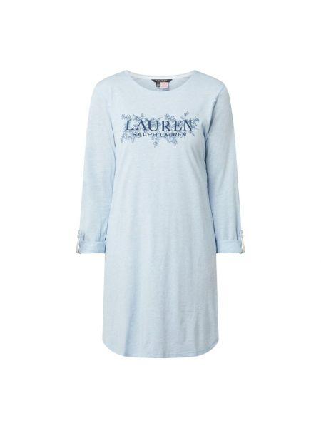 Z rękawami bawełna bawełna koszula nocna z dekoltem Lauren Ralph Lauren