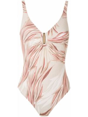 Плюшевый розовый слитный купальник с открытой спиной с поясом Lygia & Nanny