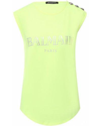 Желтый топ с логотипом Balmain
