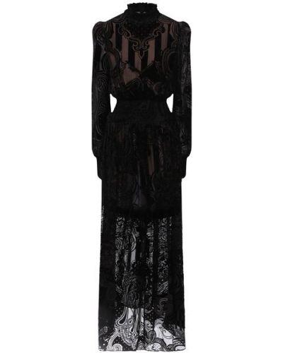 Приталенное шелковое платье макси с длинными рукавами Balmain
