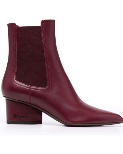 Кожаные ботинки челси - красные Salvatore Ferragamo