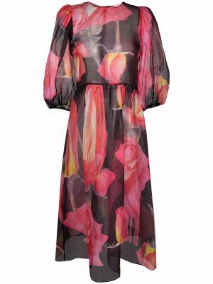 Różowa sukienka długa z długimi rękawami Soulland
