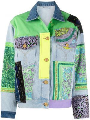 С рукавами синяя кожаная джинсовая куртка Versace