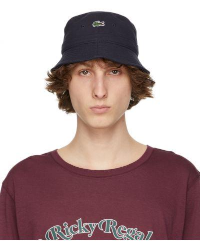 Biały kapelusz bawełniany z haftem Lacoste