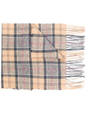 Коричневый шерстяной шарф прямоугольный Barbour