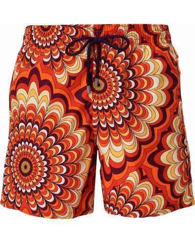 Pomarańczowe szorty z printem Vilebrequin