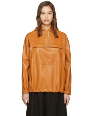 Кожаная куртка с капюшоном длинная Nanushka