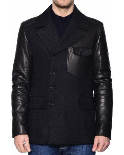 Пальто шерстяное черное Bikkembergs
