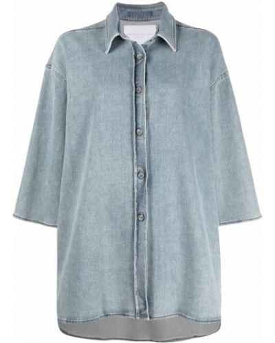 Хлопковая с рукавами синяя джинсовая куртка Fabiana Filippi