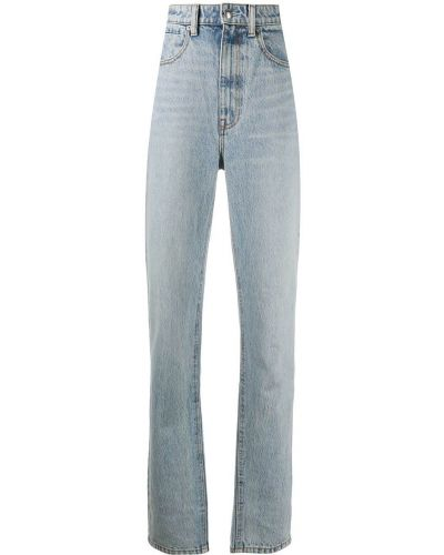 Хлопковые синие джинсы бойфренды с нашивками со складками T By Alexander Wang