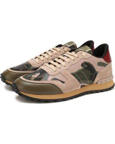 Кроссовки замшевые с принтом Valentino