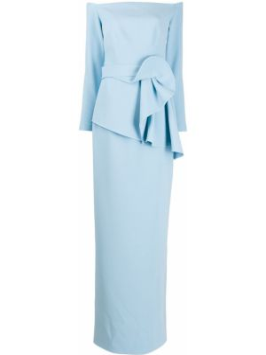 С рукавами синее платье макси Safiyaa